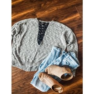 Express Sweaters - Express Lace Up Hi Low Sweater
